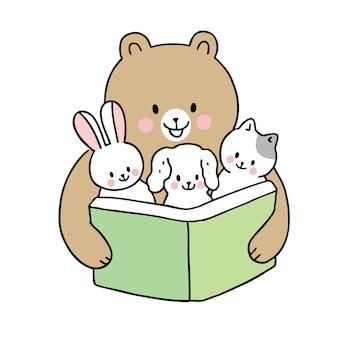 Cartone animato carino torna a scuola orso lettura libro e cuccioli di animali