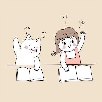 Cartone animato carino torna a scuola ragazza e gatto in classe.