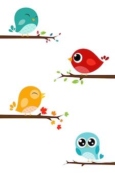 Cartone animato carino uccelli sul ramo