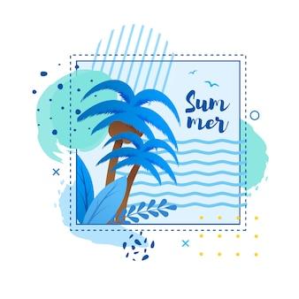Cartone animato carta tropicale con palme e h andwritten word estate in cornice
