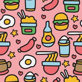 Cartone animato cibo doodle pattern design
