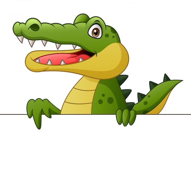 Cartone animato coccodrillo con cartello. illustrazione