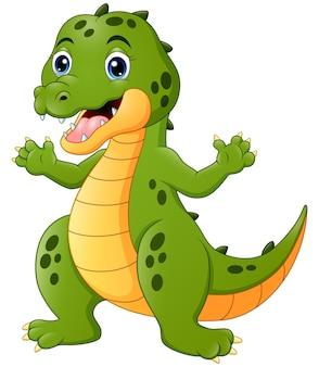 Cartone animato coccodrillo felice