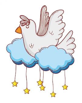 Cartone animato colomba bianca