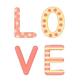 Cartone animato con animali e lettere per san valentino. adesivi nella scritta.