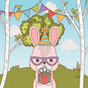 Cartone animato coniglio con buon compleanno