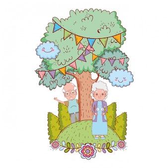 Cartone animato coppia carino nonni