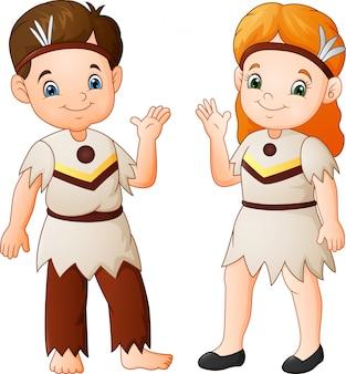 Cartone animato coppia nativo americano indiano con costume tradizionale