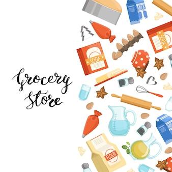Cartone animato cucina ingridients o generi alimentari con lettering. poster assortimento di soda e drogheria nutriente