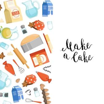 Cartone animato cucina ingridients o generi alimentari con lettering