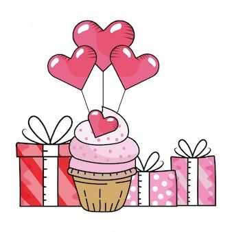 Cartone animato cupcake panetteria giorno di san valentino