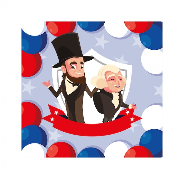 Cartone animato dei presidenti george washington e abraham lincoln, president day
