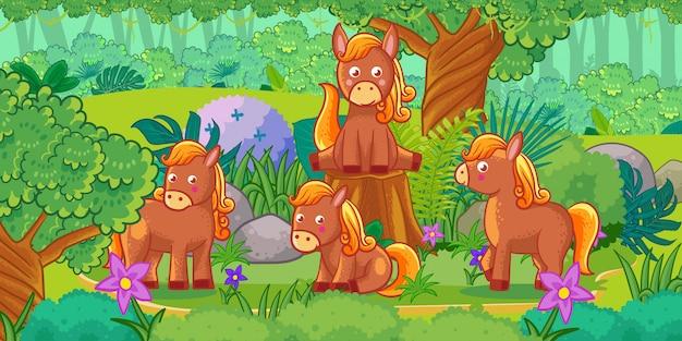 Cartone animato del bellissimo paesaggio con cavalli