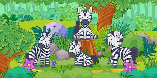 Cartone animato del bellissimo paesaggio con zebra