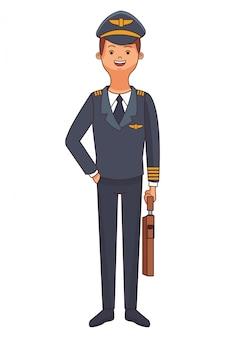 Cartone animato del corpo pilota dell'aeroplano