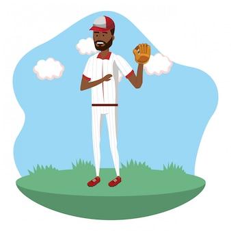 Cartone animato del giocatore di baseball