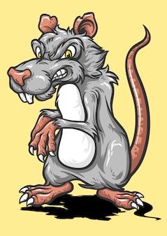 Cartone animato del mouse con la faccia arrabbiata