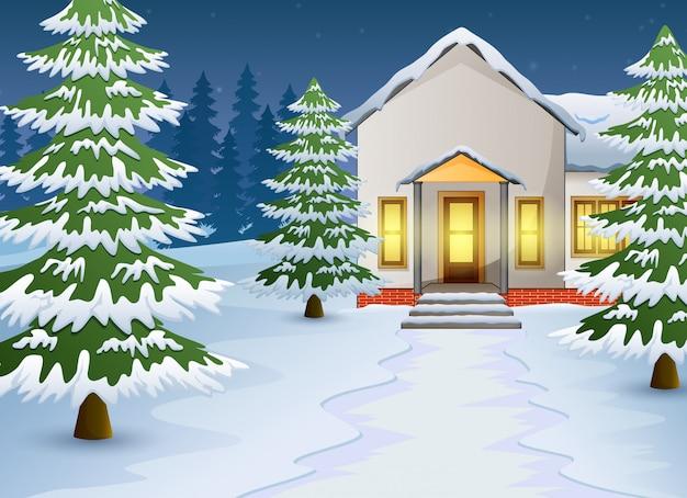 Cartone animato del paesaggio notturno invernale con casa e neve sulla strada