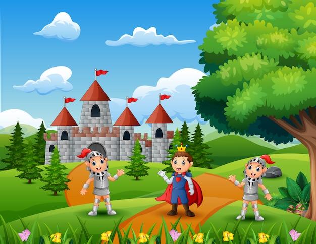 Cartone animato del principe con due cavalieri sulla strada che conduce a un castello