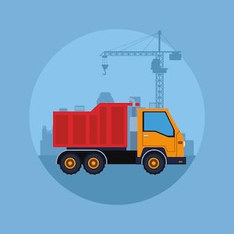 Cartone animato del veicolo di costruzione
