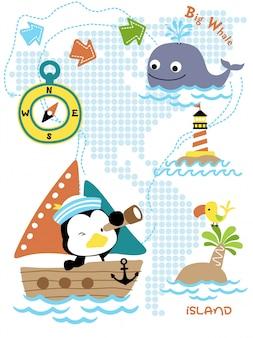 Cartone animato del viaggio a vela con divertente marinaio
