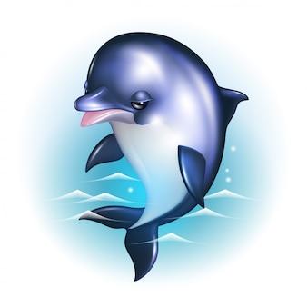 Cartone animato delfino sullo sfondo delle onde.