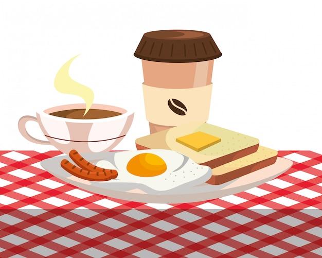 Cartone animato deliziosa colazione gustosa