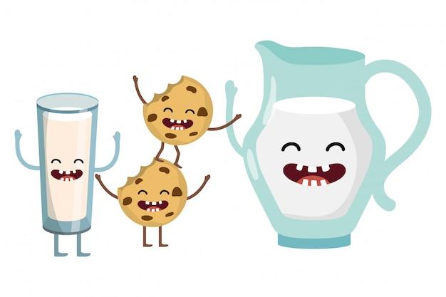 Cartone animato delizioso latte gustoso