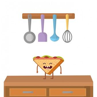 Cartone animato delizioso panino gustoso