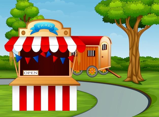 Cartone animato dell'ingresso del parco divertimenti sul ciglio della strada