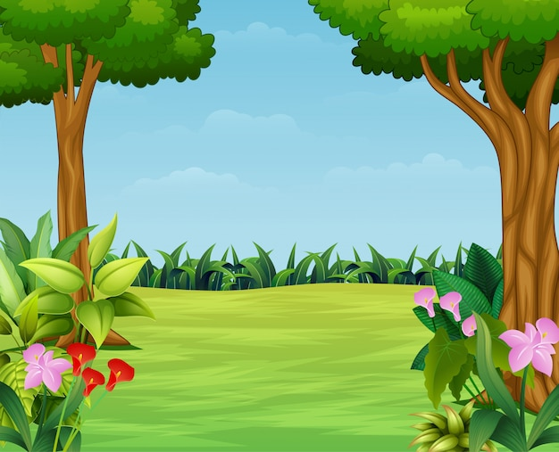 Cartone animato della scena della natura con bellissimo parco