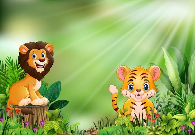 Cartone animato della scena della natura con un leone in piedi sul ceppo di albero e tigre