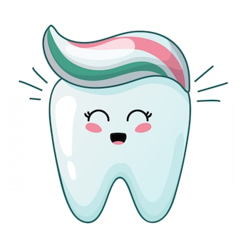 Cartone animato dente carino kawaii