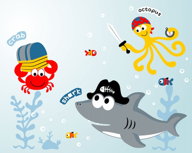 Cartone animato di animali marini