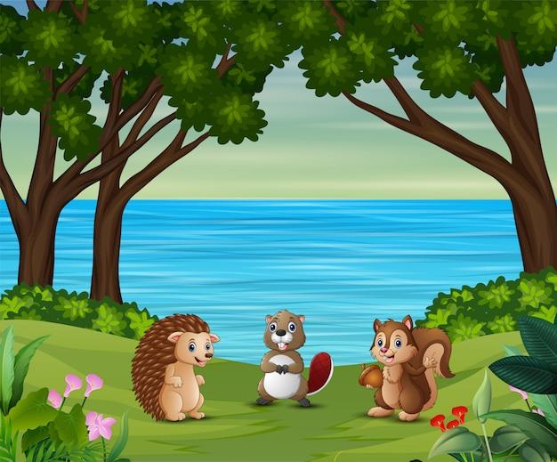Cartone animato di animali sul bordo di un fiume