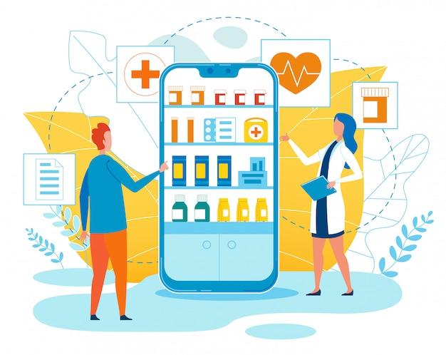 Cartone animato di app di farmacia online banner di pubblicità.