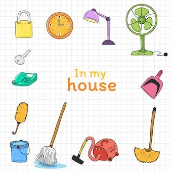Cartone animato di attrezzature per la casa