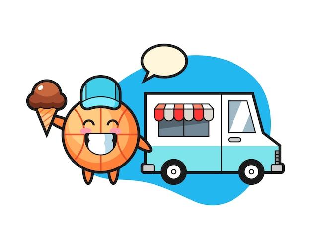 Cartone animato di basket con camion di gelati