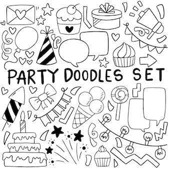 Cartone animato di buon compleanno doodle festa disegnata a mano