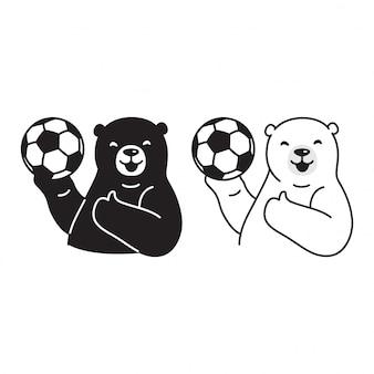 Cartone animato di calcio calcio orso polare