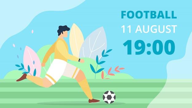 Cartone animato di calcio di iscrizione banner luminoso piatto