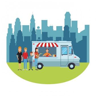 Cartone animato di camion di cibo