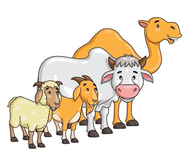 Cartone animato di cammello, mucca, capra e pecora