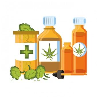 Cartone animato di canapa martihuana sativa alla cannabis