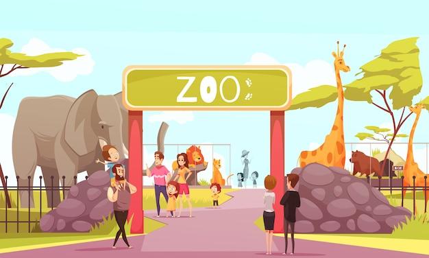 Cartone animato di cancello d'ingresso zoo