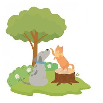 Cartone animato di cane e gatto