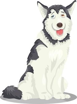 Cartone animato di cane husky o malamute