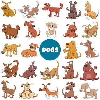 Cartone animato di cani e cuccioli caratteri set di grandi dimensioni