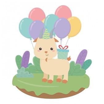 Cartone animato di capra con buon compleanno