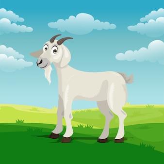 Cartone animato di capra in cortile